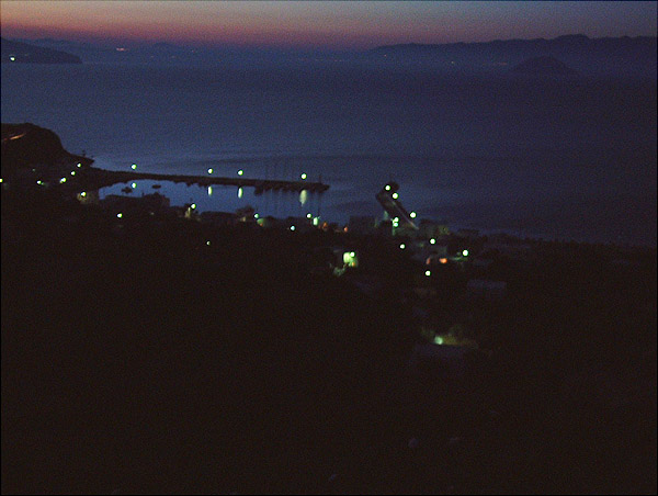 Night image of the Palli harbour in Nisyros island viewed from S (May 19, 2002)